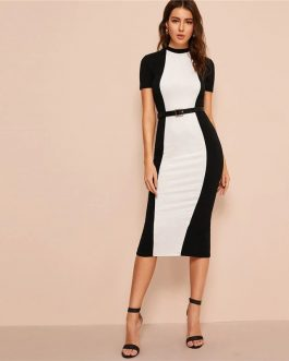 Colorblock Bodycon Pencil Midi Dress Without Belt