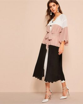Colorblock Scalloped Trim Abaya Pink Deep V Neck Dress