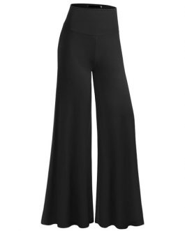 Cotton Black Pants Women's High Rise Ruffled Elastic Wide Leg Pants