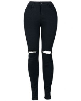Cut Out Long Skinny Ripped Jeans For Women