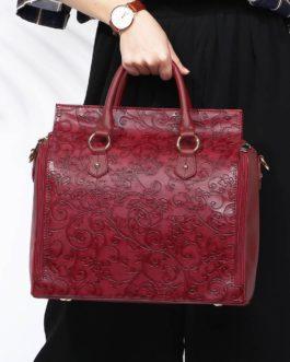 Embossed Flower Handbags Vintage Capacity Bohemian Faux Leather Shoulder Bags