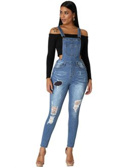 Denim Overall Pants Ripped Jeans Pinafore Trousers