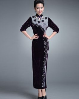 Elegant Crystal Velour Cheongsam Dress for Women