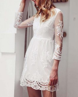 Elegant Embroidery Lace Midi Dress
