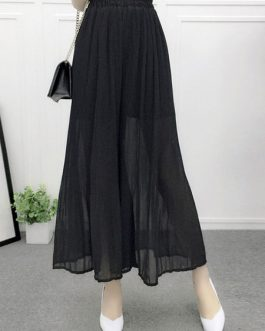 Elegant Pintuck Chiffon Wide Leg Pants for Women