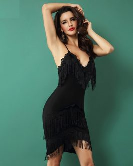Elegant Sexy V Neck Spaghetti Strap Embellished Mini Dress