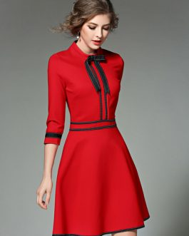 Embellished Collar Half Sleeve Slim Fit Flare Dress With Bow