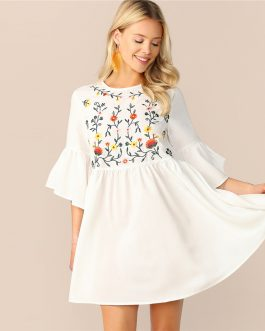 Embroidered Floral Flounce Sleeve Smock Boho Dress