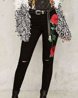 Embroidered Rose Skinny High Waisted Denim Jeans