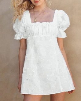 Embroidery Dress French Ruched Puff Dresses