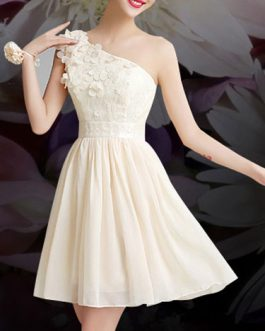Evening Dress One-Shoulder Backless Flare Dress