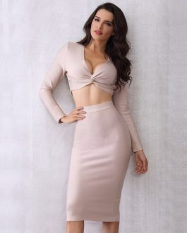 Evening Party Celebrity Bandage Crop Tops and Skirt Two Pieces Set