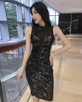 Evening Party Vestidos Sequined Sleeveless Midi Club Dress