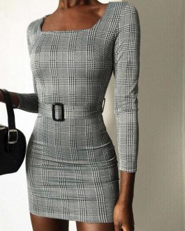 Fashion Plaid Long Sleeve Bodycon Dress