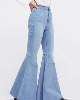 Flared Leg Jeans Buttons Denim Pants For Women