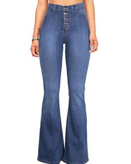 Flared Leg Jeans High Waisted Buttons Women Denim Pants