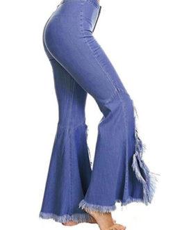 Flared Leg Jeans Split Distressed Denim Pants