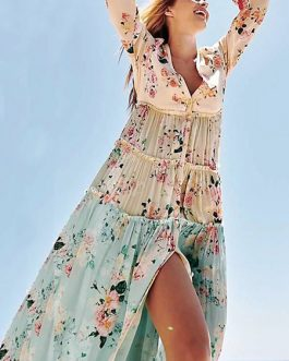 Floral Long Sleeve Pleated Chiffon Maxi Dress