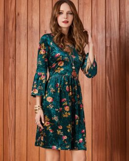 Floral Round Neck Velour Midi Dress