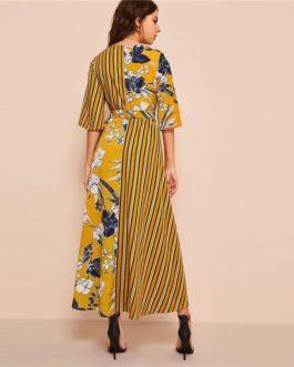 Floral Striped Print Surplice Neck Dress Three Quarter Length Sleeve