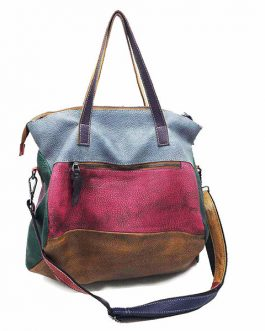 Genuine Leather Cowhide Handbag Crossbody Retro Handmade Stitching Bag