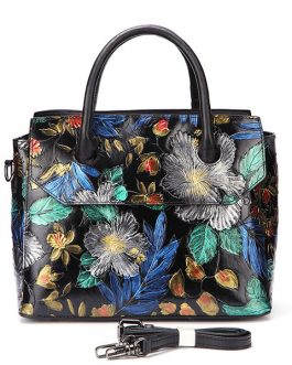 Women Travel Genuine Leather Hand-painted Vintage Handbag Shoulder Bag For Women