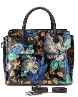Women Travel Genuine Leather Hand-painted Vintage Handbag Shoulder Bag For Women