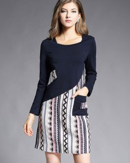 Geometric Print Asymmetrical Short Dresses