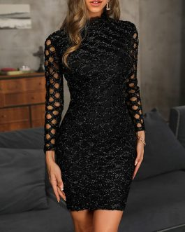 Glitter Cut Out Women Party Bodycon Dress