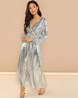 Going Out Silver Bishop Sleeve Wrap Front Sequin V Neck Long Sleeve Dress