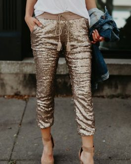 Gold Sequin Pants Drawstring Elastic Waist Cropped Joggers