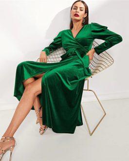 Green Elegant Party Solid Puff Sleeve Tie Waist Split Side Surplice Wrap Dress