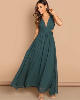 Green Plunge Neck Crisscross Waist Ball Dress