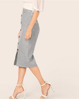 Grey Button Front Slit Bodycon Pencil Long Skirt