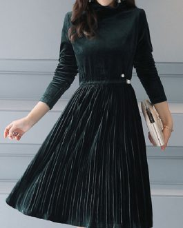 High Collar Pleated Pearls Midi Dress