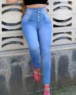 High Waisted Jeans Button Skinny Denim Pants