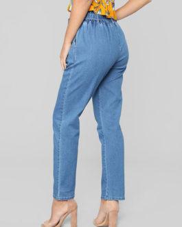 High Waisted Tie Belt Pockets Denim Pants For Women