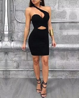 Hollow Out One Shoulder Casual Runway Bodycon Party Dress