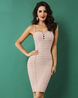 Hollow Out Sleeveless Backless Celebrity Mini Bodycon Dress