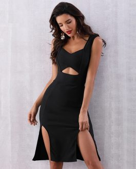 Hollow Out V-Neck Spaghetti Strap Celebrity Sexy Club Dress