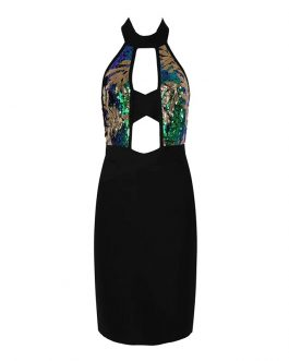Hollow Out Vestidos Sequined Bodycon Club Dress