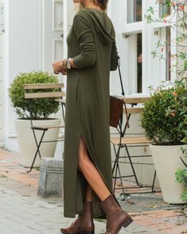 Hooded Long Pockets Split Maxi Dress