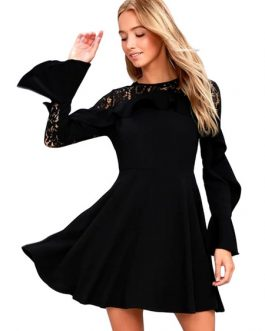 Lace Skater Bell Ruffles Short Dress For Women
