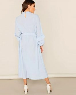 Lady Casual Blue Frill Neck Belted Solid Pleated Maxi Dress