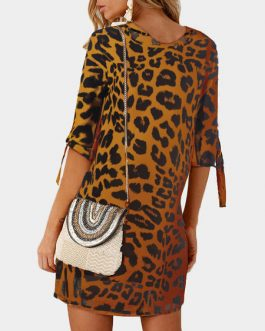 Leopard Print Casual Jewel Neck Shift Dress