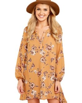 Long Sleeve Shift Dress Floral Print
