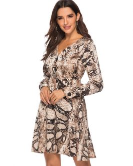V Neck Swing Dress Snake Print Flared Dress