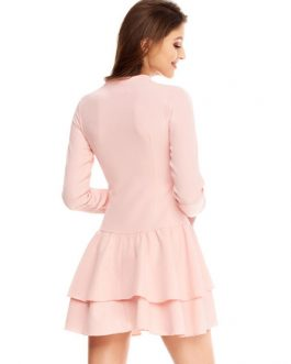 Long Sleeve Skater V Neck Knotted Flare Dress