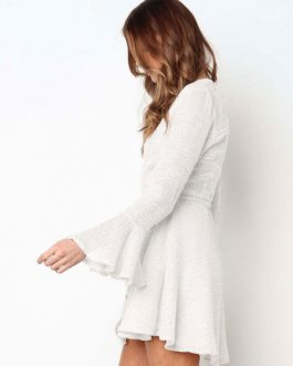 Long Sleeve Swing Knotted Flared Skater Dress