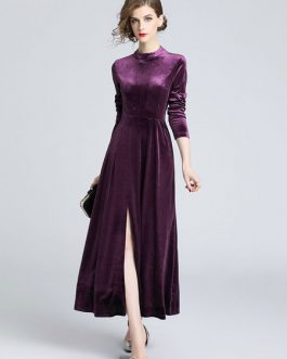 Long Sleeve Velour Split Midi Dress